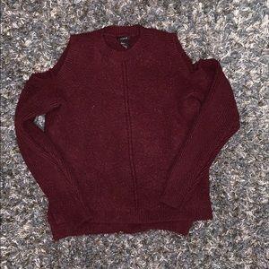 Cold Shoulder Maroon Sweater